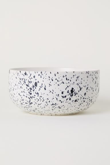 Patterned porcelain bowl - White/Black spotted - Home All | H&M GB