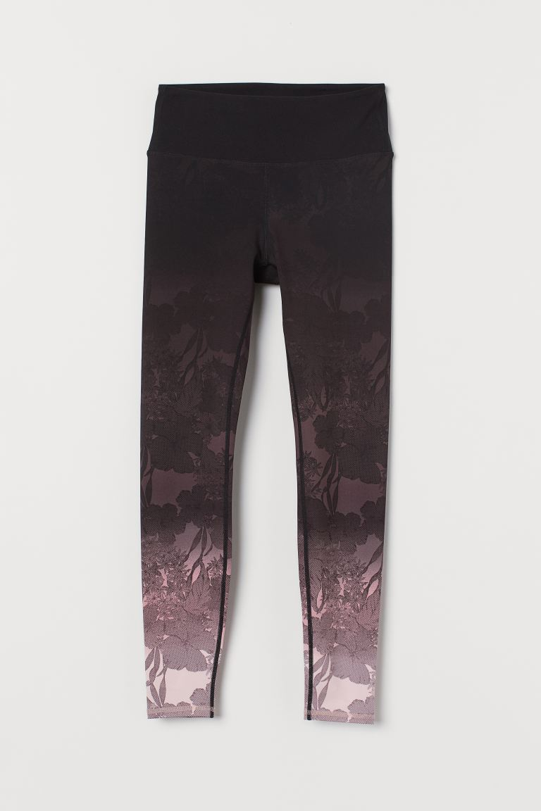 Sports tights High Waist - Black/Powder pink - Ladies | H&M