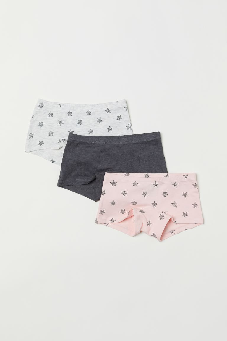 3-pack boxer briefs - Light grey marl/Stars - Kids | H&M