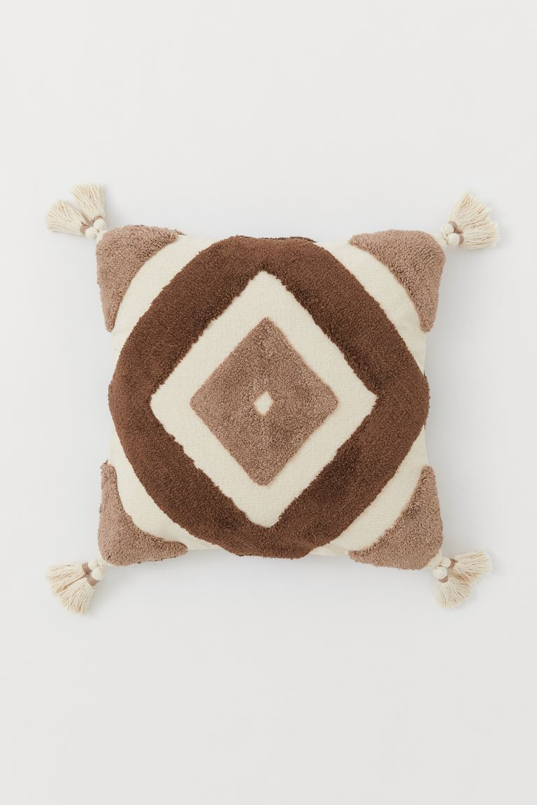 Cushion cover with tassels - Light beige/Light brown - Home All | H&M GB