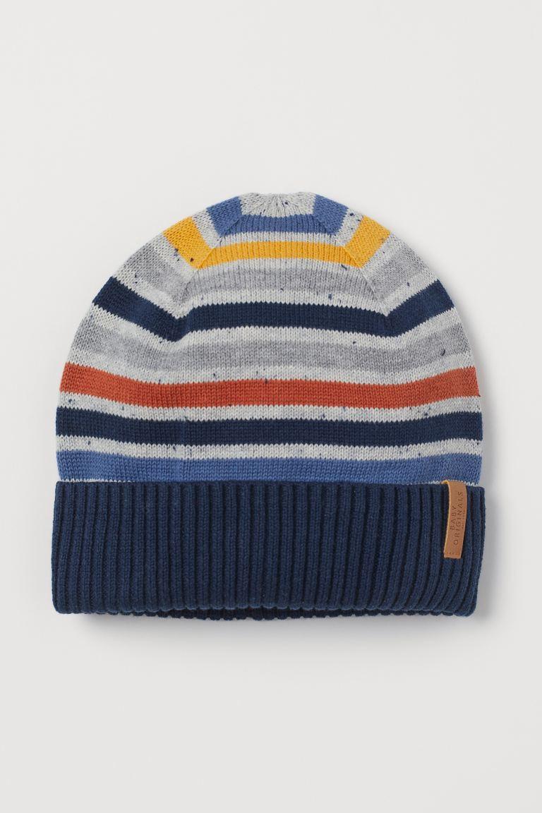 Fine-knit cotton hat - Dark blue/Multicolour stripes - Kids | H&M GB