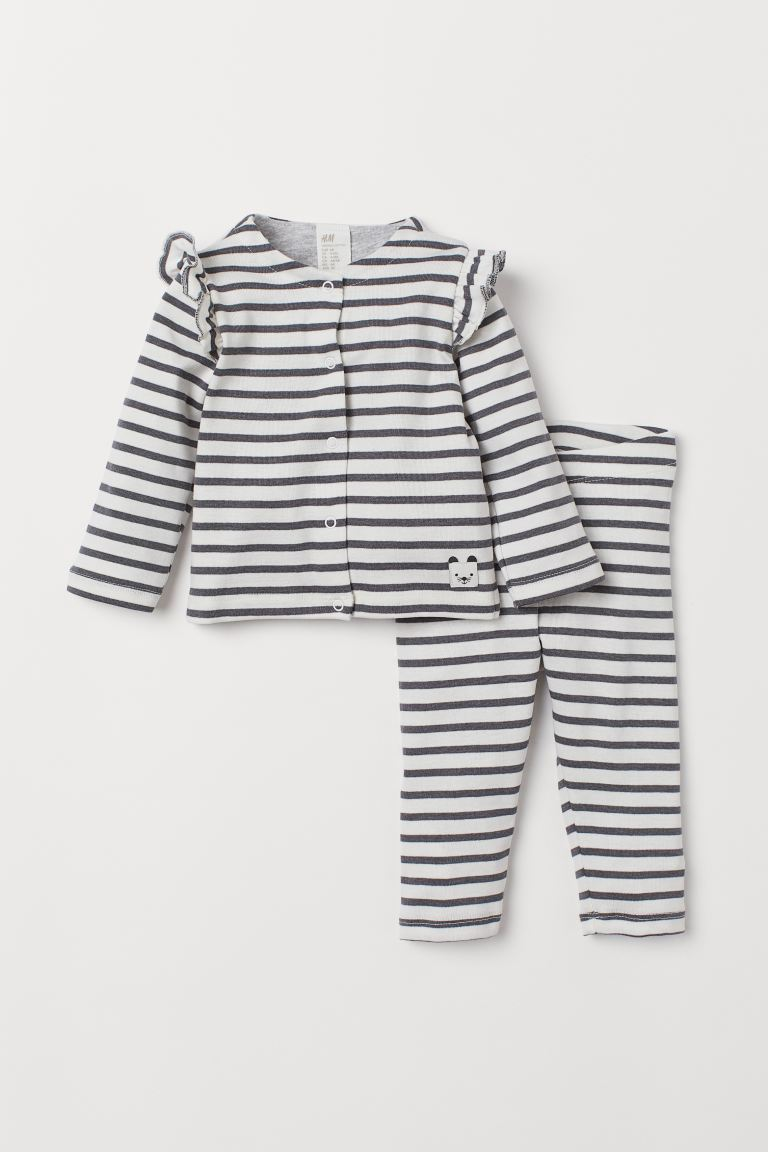 Cardigan and Leggings - White/gray striped - Kids | H&M US
