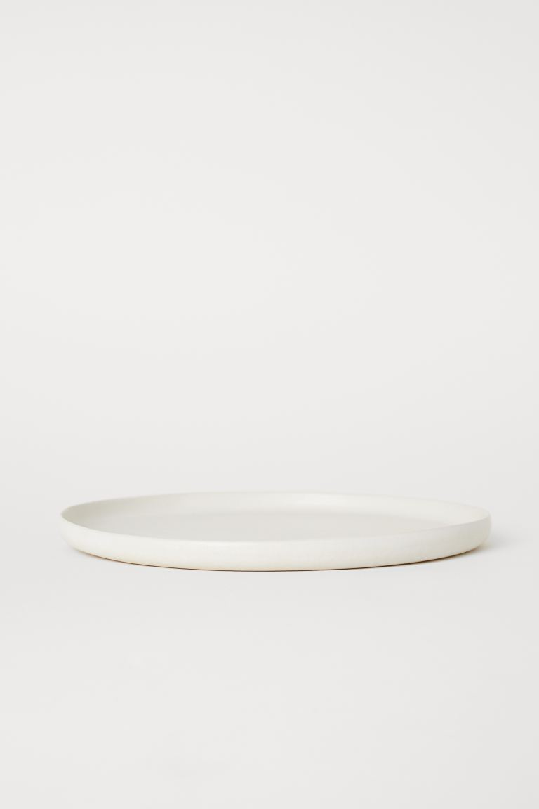 Large stoneware plate - Natural white/Matt - Home All | H&M IE