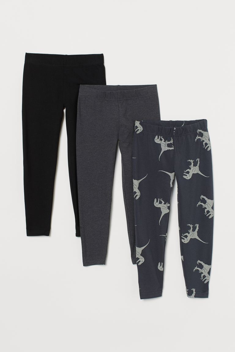 3-pack jersey leggings - Dark grey/Dinosaurs - Kids | H&M GB