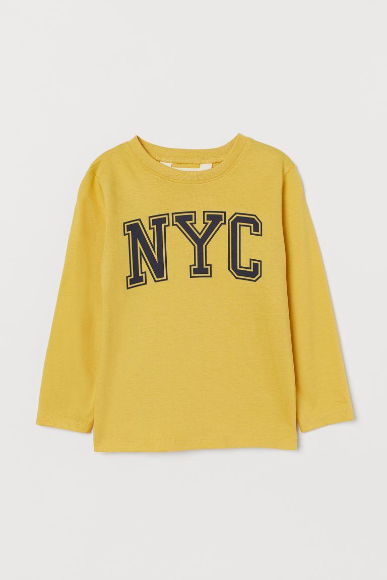 Printed jersey top - Yellow - Kids   H&M GB