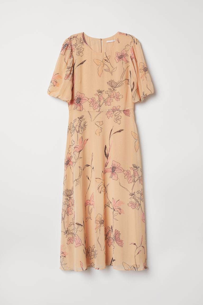 Patterned Chiffon Dress - Light apricot/floral - Ladies | H&M US