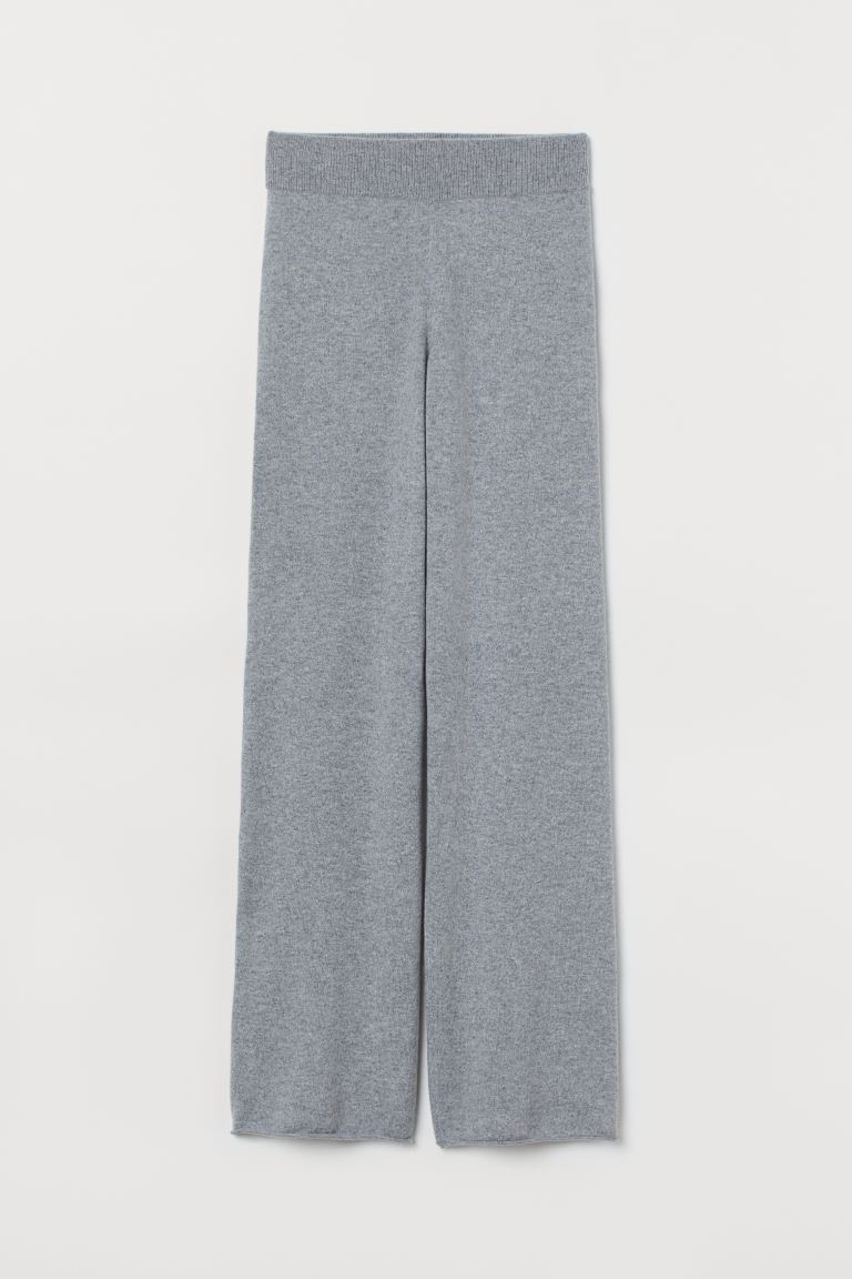 Fine-knit Cashmere Pants - Light gray melange - Ladies | H&M US