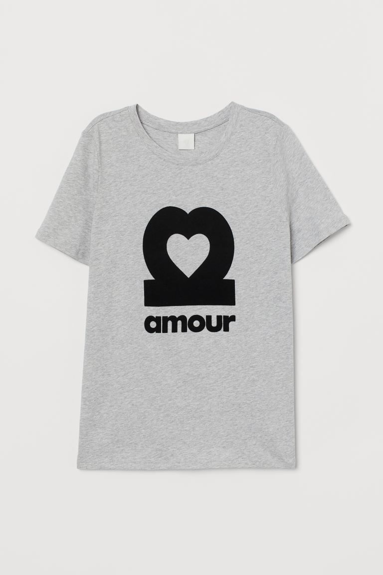 T-Shirt mit Motiv - Hellgraumeliert/Amour - Ladies | H&M AT