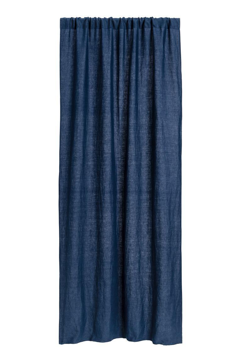 Chambre Bleu Ciel Et Lin rideau en lin lavé
