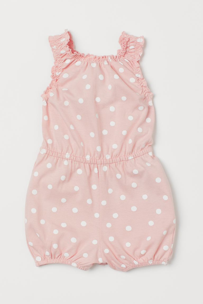 Cotton romper suit - Light pink/Spotted - Kids | H&M