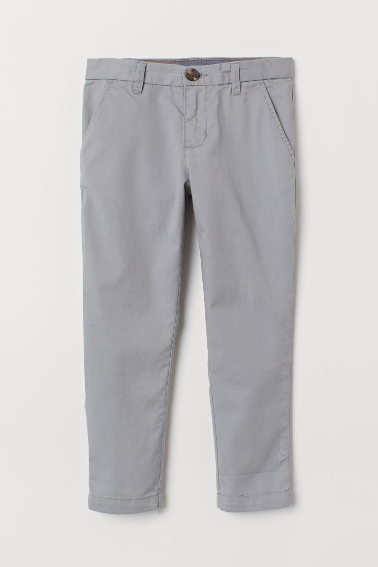 Cotton chinos - Grey - Kids | H&M IN