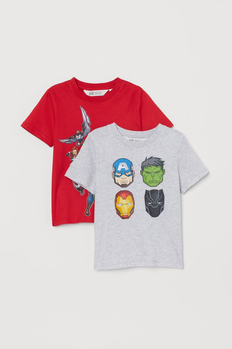 2-pack printed T-shirts - Grey marl/Avengers - Kids | H&M IE