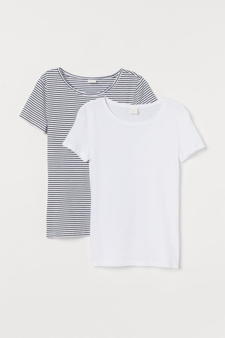 2-pack cotton T-shirts - White/Blue striped - Ladies | H&M IN
