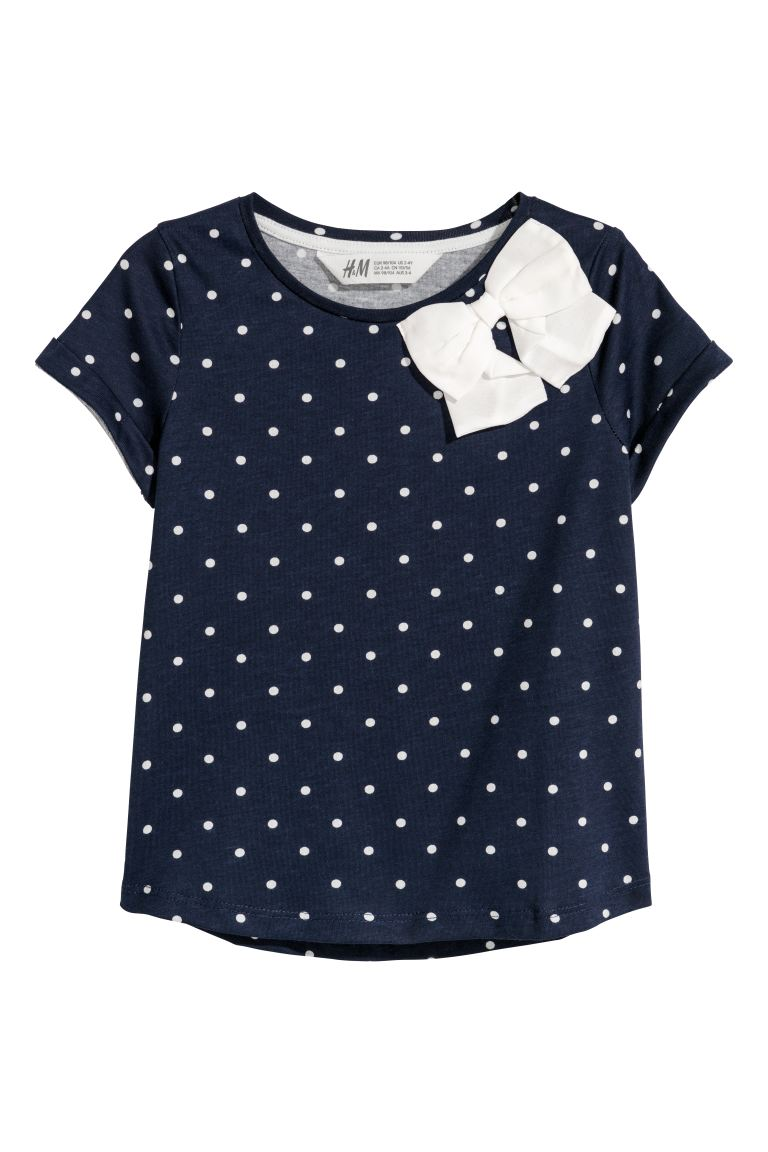 Short-sleeved top - Dark blue/Spotted - Kids | H&M GB