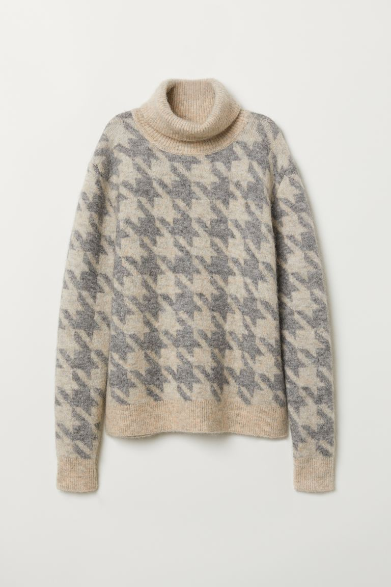 Knitted polo-neck jumper - Beige/Light grey -  | H&M GB