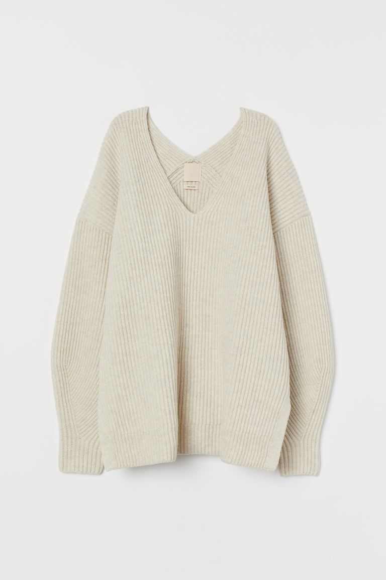 V-neck wool-blend jumper - Light beige - Ladies | H&M IE