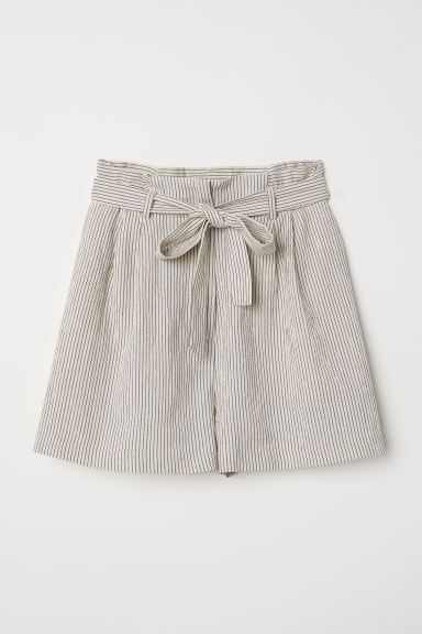 Paper-bag Shorts - Light beige/striped - Ladies | H&M US