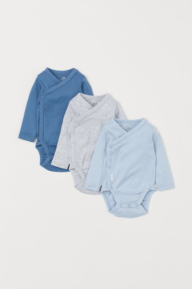 3-pack Long-sleeved Bodysuits - Blue/striped -  | H&M US