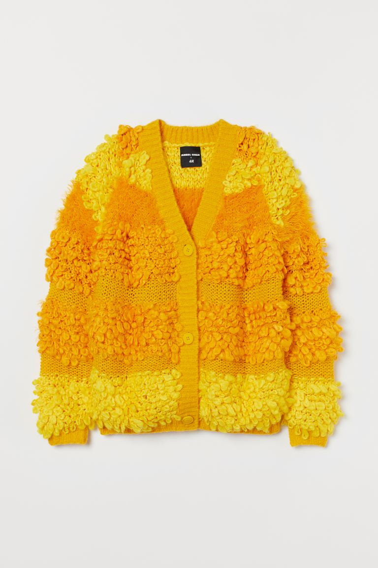 Loose-knit cardigan - Yellow - Ladies | H&M
