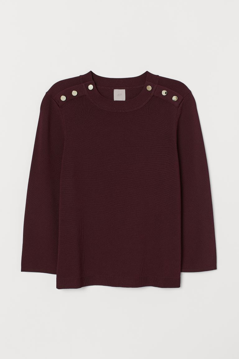 Ribbed jumper - Burgundy - Ladies | H&M