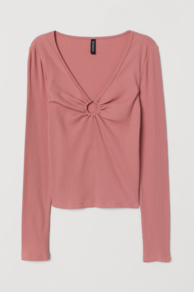 Top cuello en V - Rosa antiguo - Ladies | H&M US