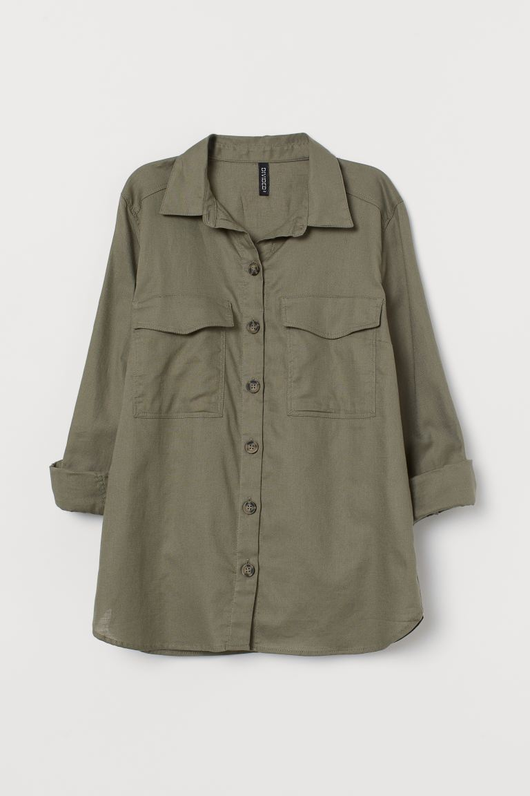 Cotton Shirt - Khaki green - Ladies | H&M US