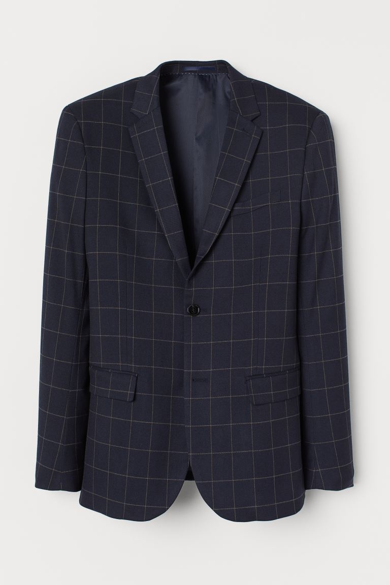 Blazer a quadri Skinny Fit - Blu scuro/quadri - UOMO | H&M IT