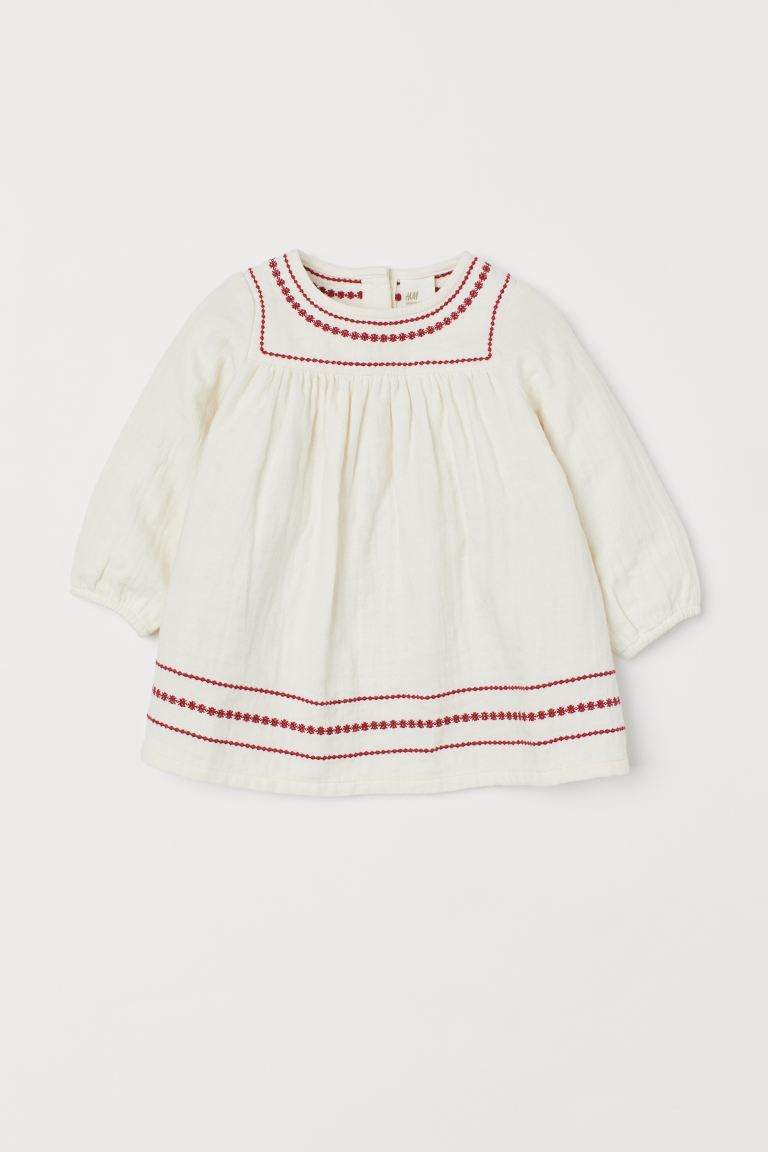 Embroidered dress - Natural white - Kids | H&M
