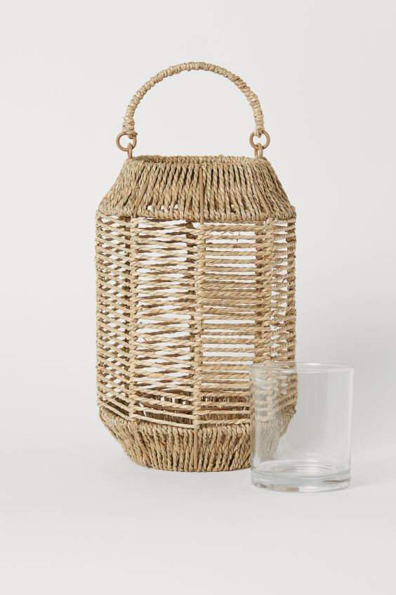 Large seagrass candle lantern - Natural - Home All | H&M GB 2