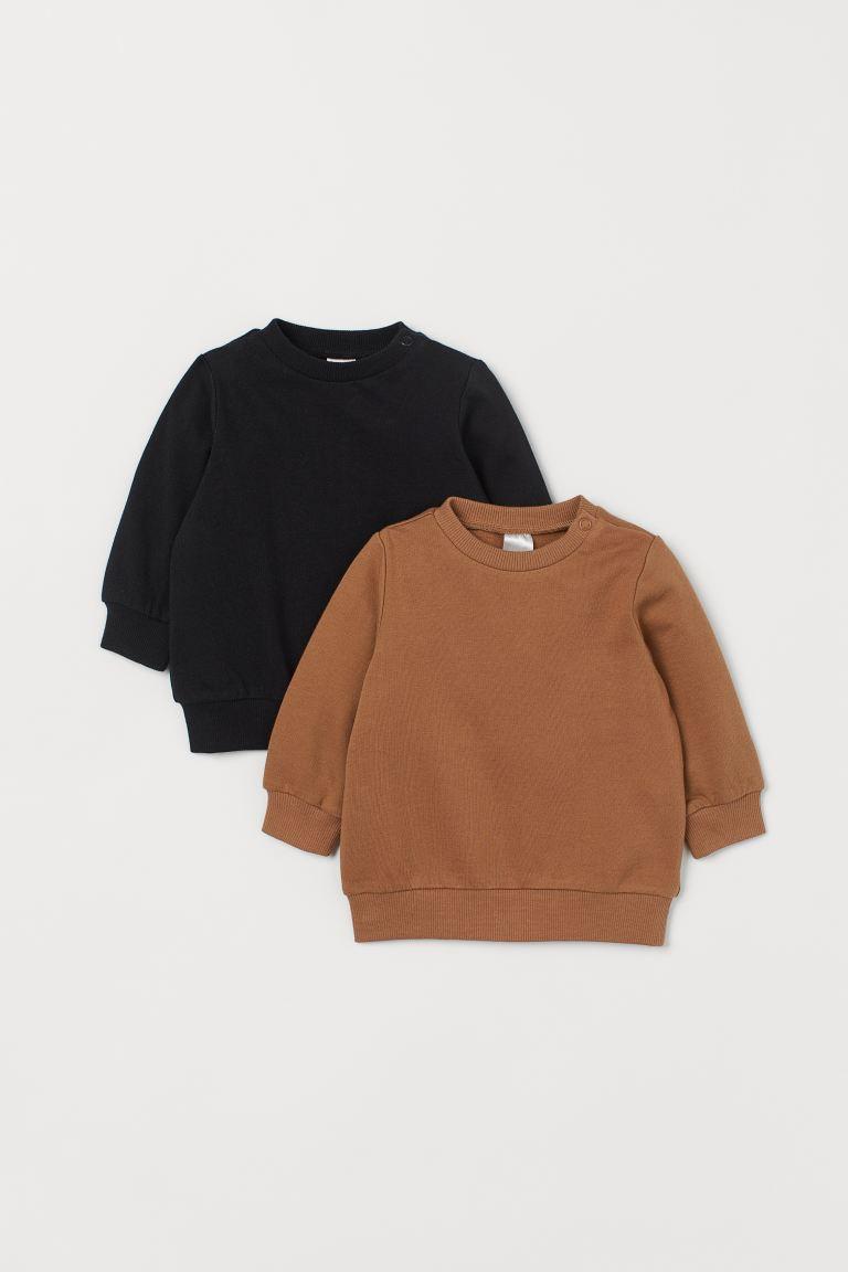 2-pack cotton sweatshirts - Dark beige/Black - Kids | H&M GB