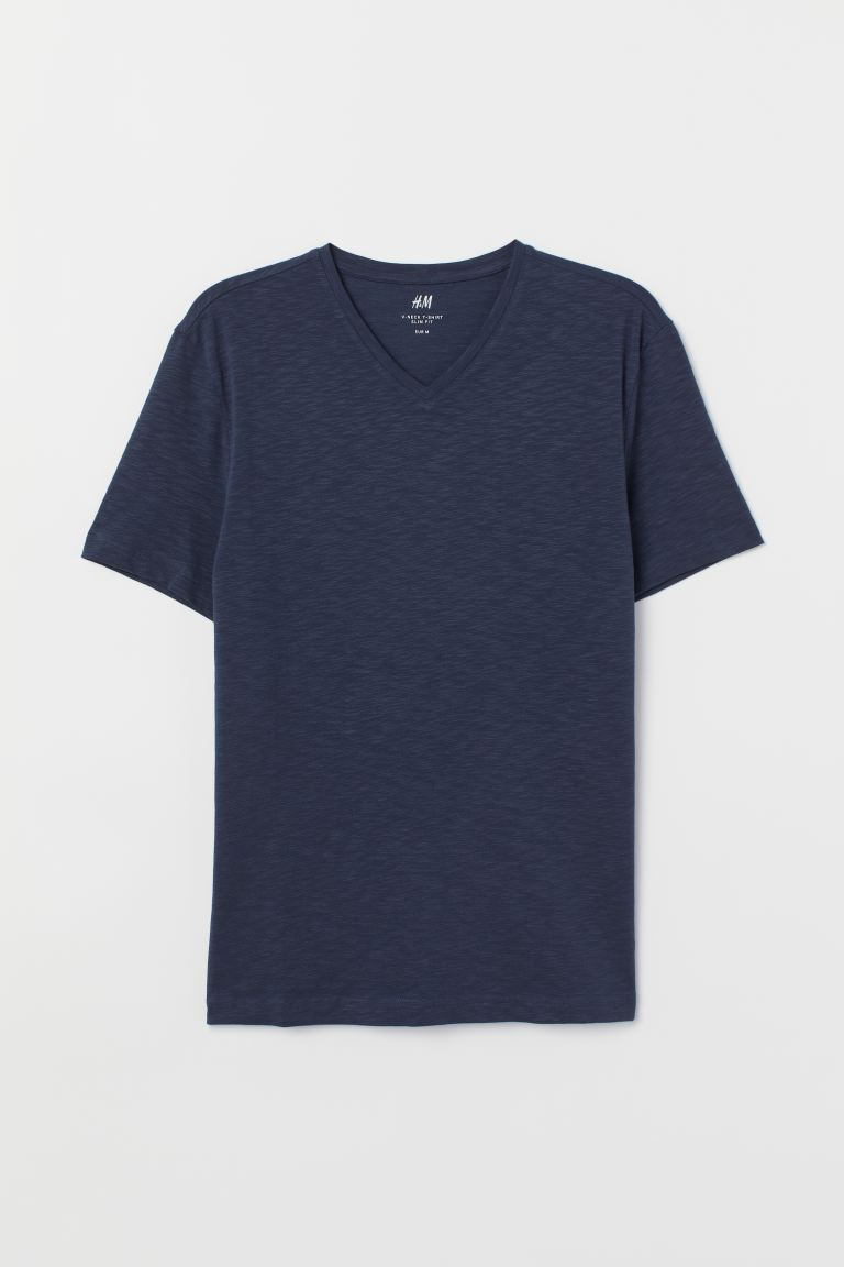 T-shirt scollo a V Slim fit - Blu scuro - UOMO | H&M IT