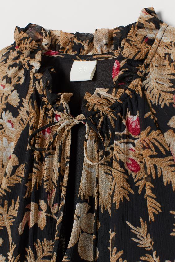 Vestido em chiffon - Preto/Floral - SENHORA | H&M PT 5