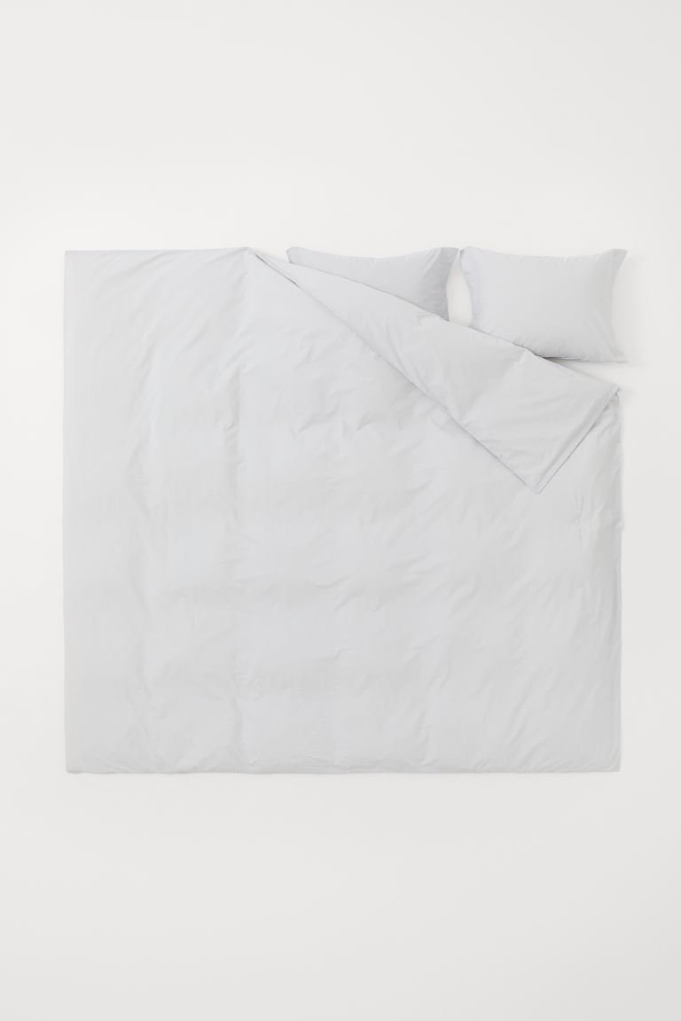 Cotton percale duvet cover set - Light grey - Home All | H&M IE