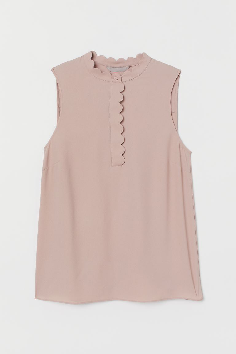 Scallop-trimmed blouse - Light pink - Ladies | H&M
