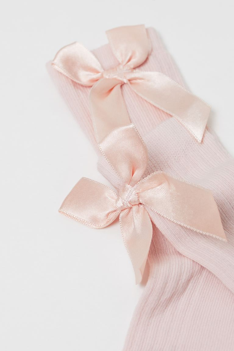 Knee socks with a bow - Powder pink -    H&M GB