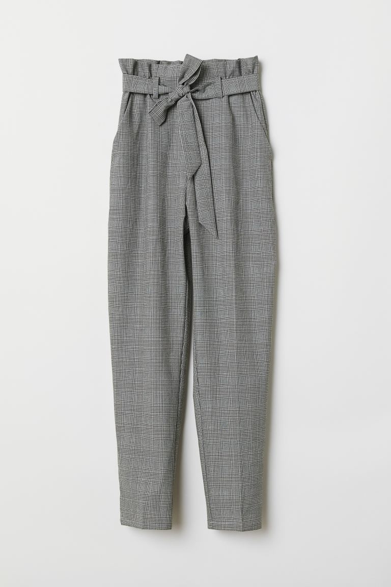 Paper bag trousers - Light grey/Striped - Ladies | H&M GB