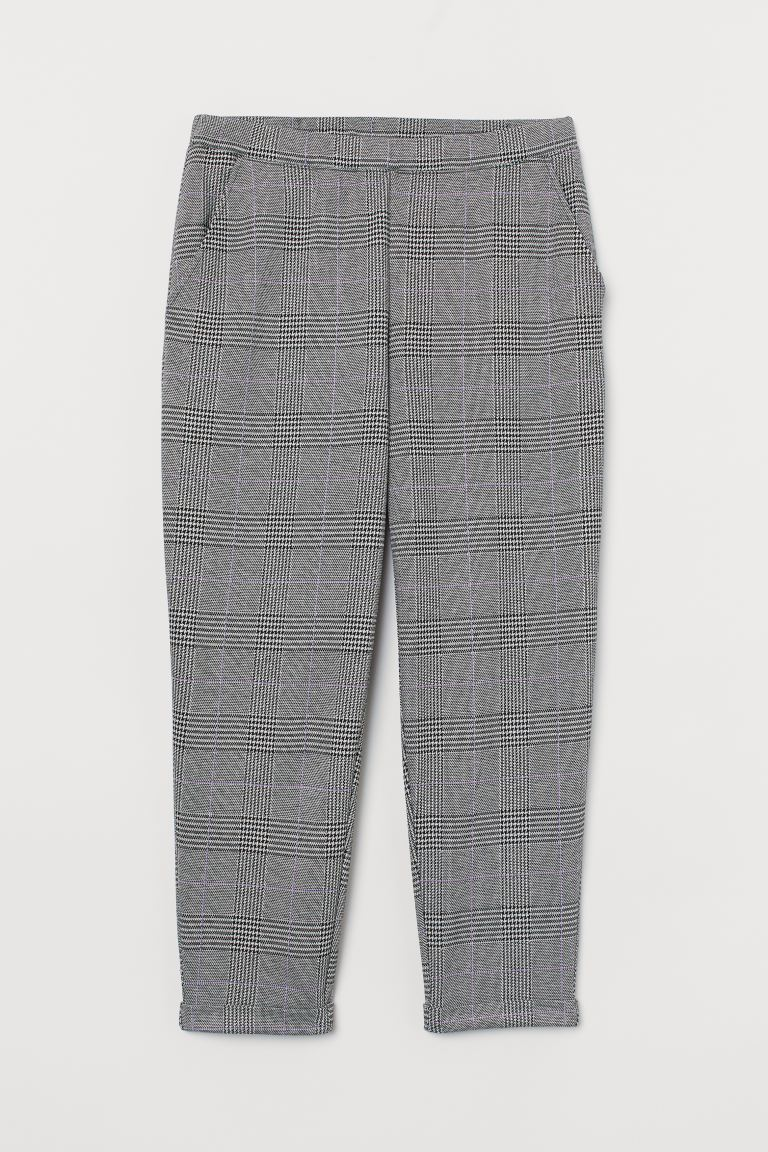 H&M+ Pull-on trousers - Light grey/Dogtooth-patterned - Ladies | H&M GB