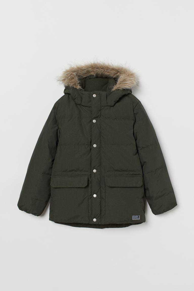 Hooded down jacket - Dark green -    H&M GB