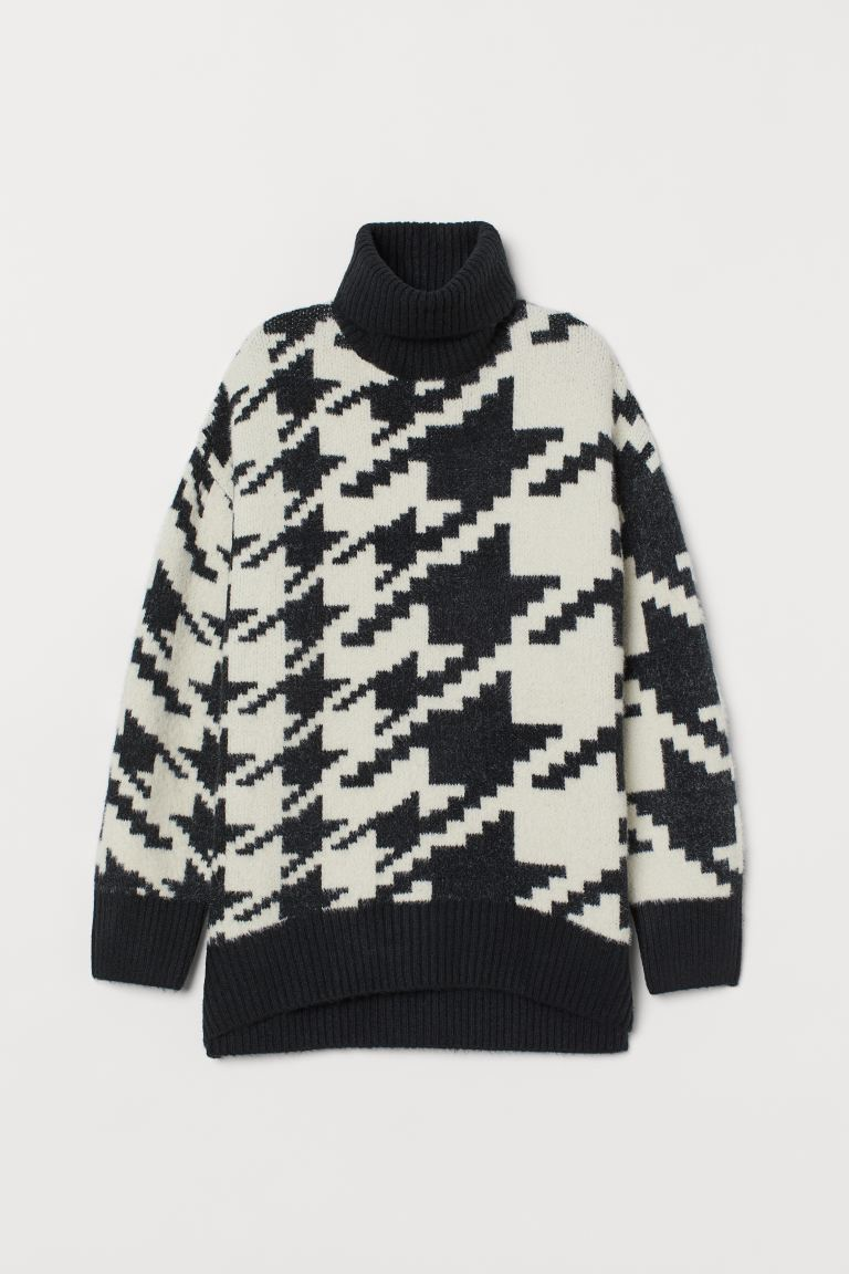 Jacquard-knit jumper - Black/Dogtooth-patterned - Ladies | H&M IE