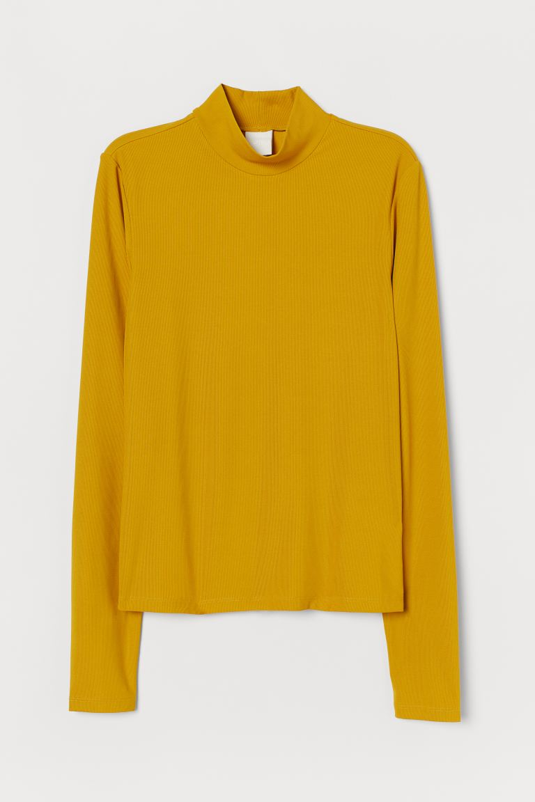 Ribbed polo-neck top - Mustard yellow - Ladies | H&M IE