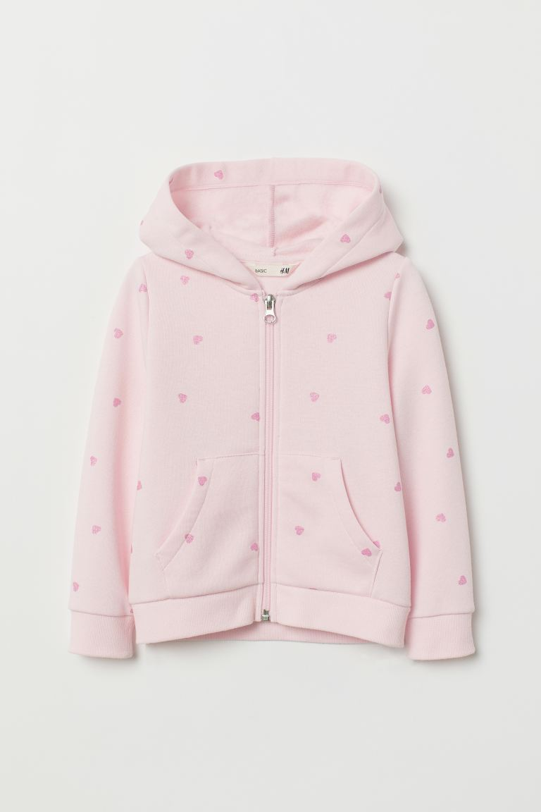 Hooded jacket - Pink/Hearts - Kids | H&M IE