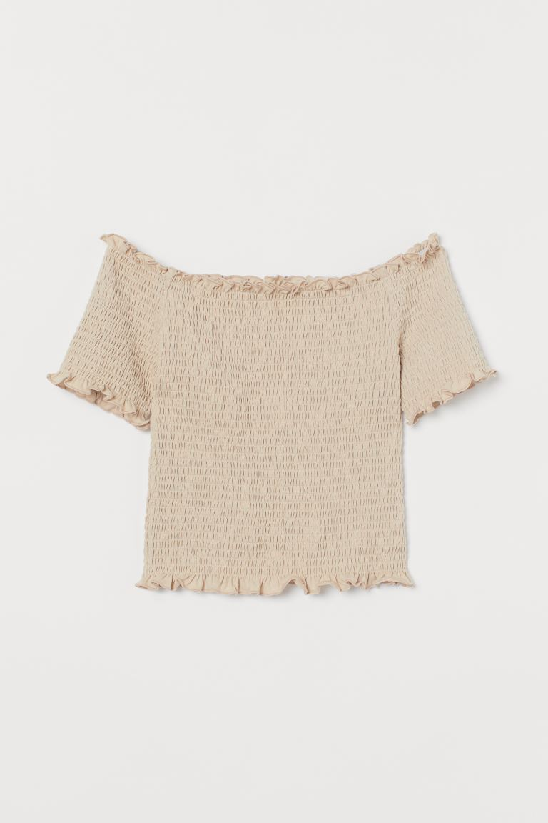 Smocked off-the-shoulder top - Light beige - Ladies | H&M GB