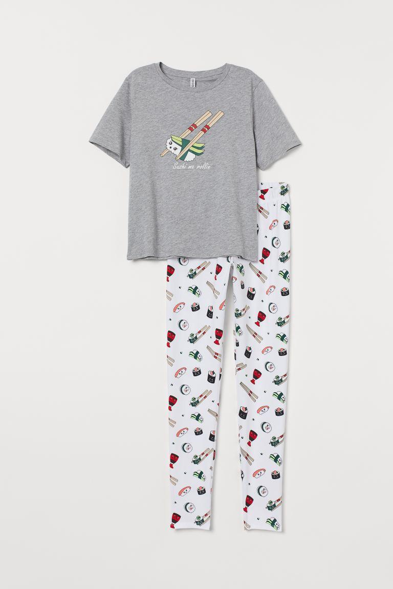nuovo stile 22c2d 692b7 Pigiama T-shirt e pantaloni - Grigio mélange/Sushi - DONNA | H&M IT