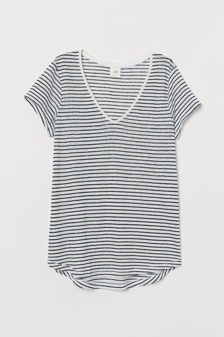 Linnen top - Donkerblauw/wit gestreept - DAMES | H&M BE