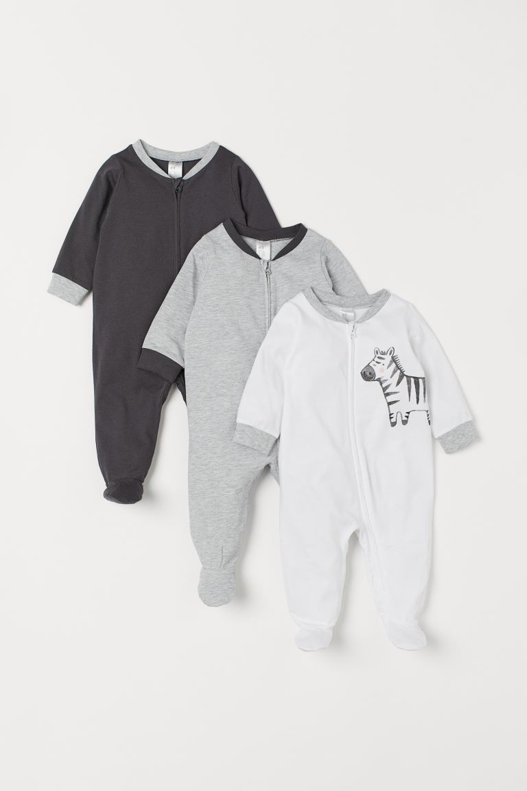3-pack zip-up pyjamas - White/Zebra - Kids | H&M GB