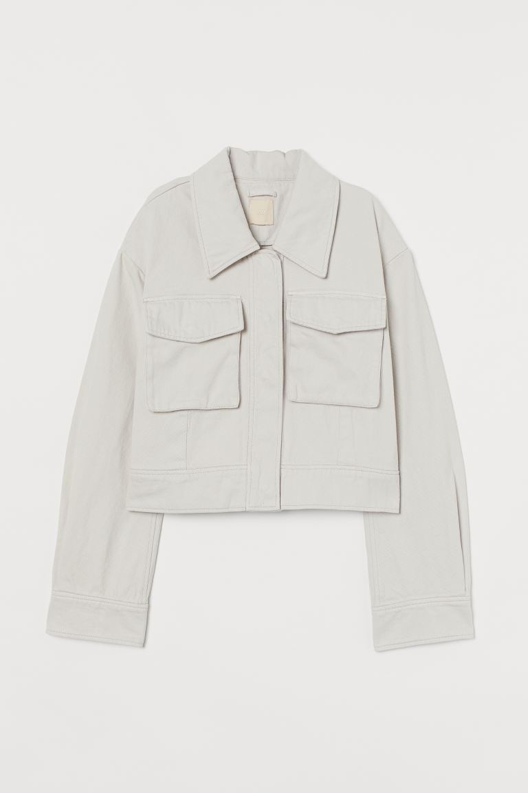 Boxy twill jacket - Light greige - Ladies | H&M GB