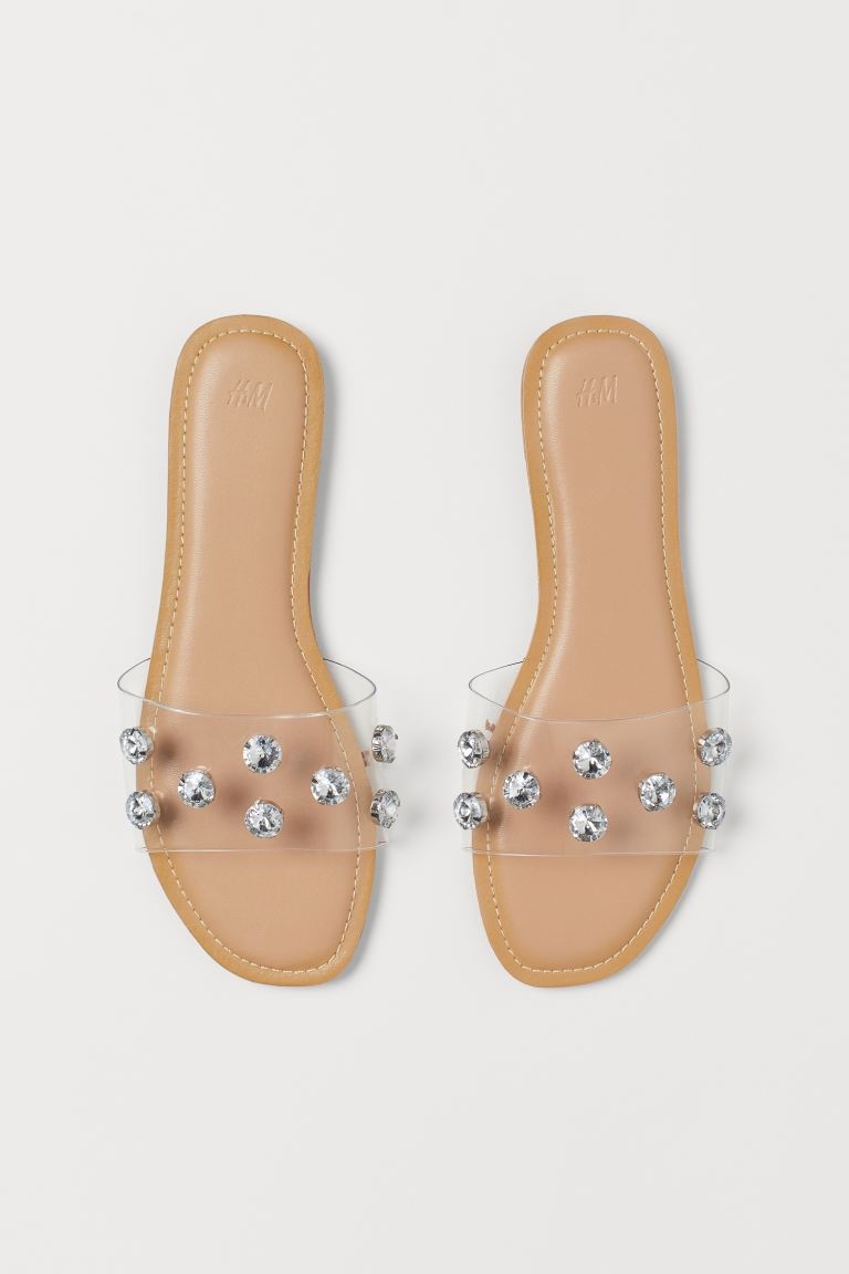 Slides - Transparent/Rhinestones - Ladies | H&M