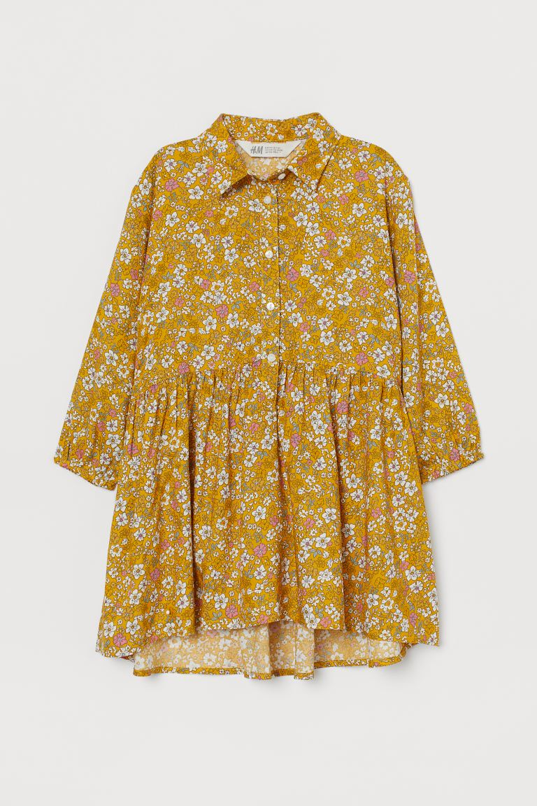 Shirt dress - Yellow/Floral - Kids | H&M IN