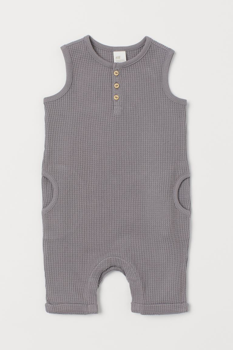 Sleeveless romper suit - Grey/Waffled - Kids | H&M