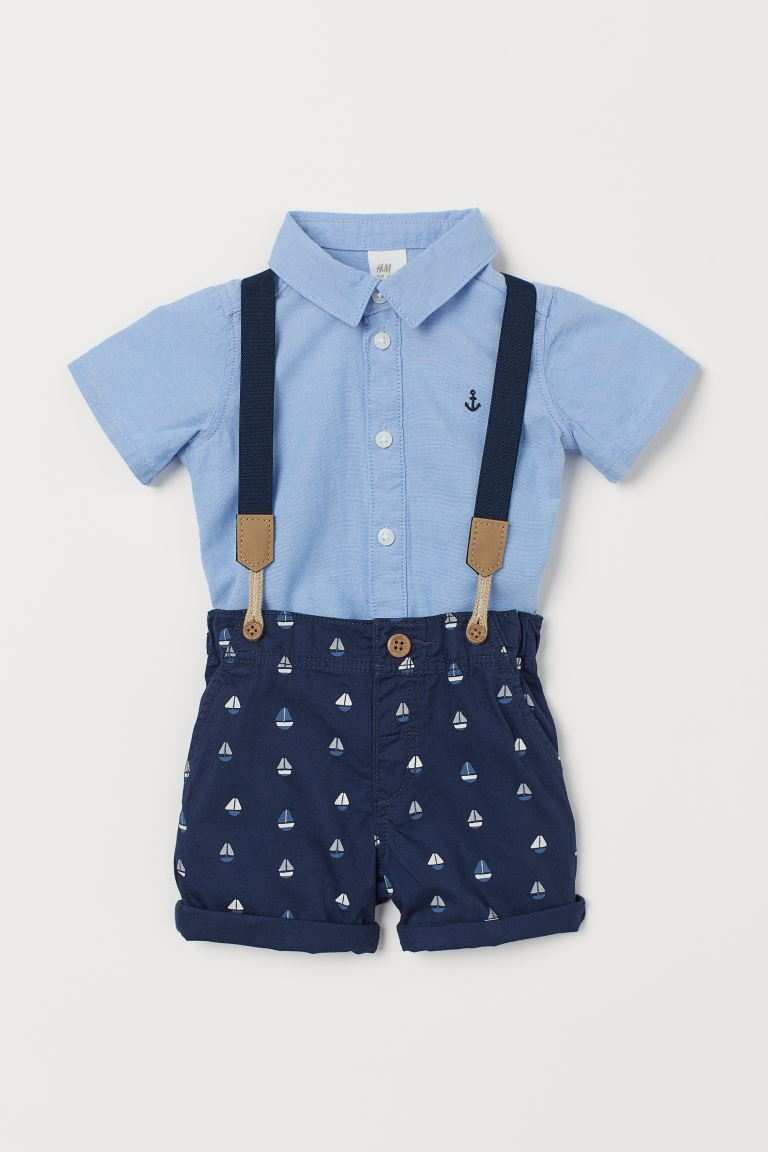 2-piece Set with Suspenders - Blue/sailboats - Kids | H&M CA